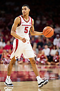 FAYETTEVILLE, AR - FEBRUARY 5:  Jalen Harris #5 of the Arkansas Razorbacks on offense during a game against the Vanderbilt Commodores at Bud Walton Arena on February 5, 2019 in Fayetteville, Arkansas. The Razorbacks defeated the Commodores 69-66.  (Photo by Wesley Hitt/Getty Images) *** Local Caption *** Jalen Harris