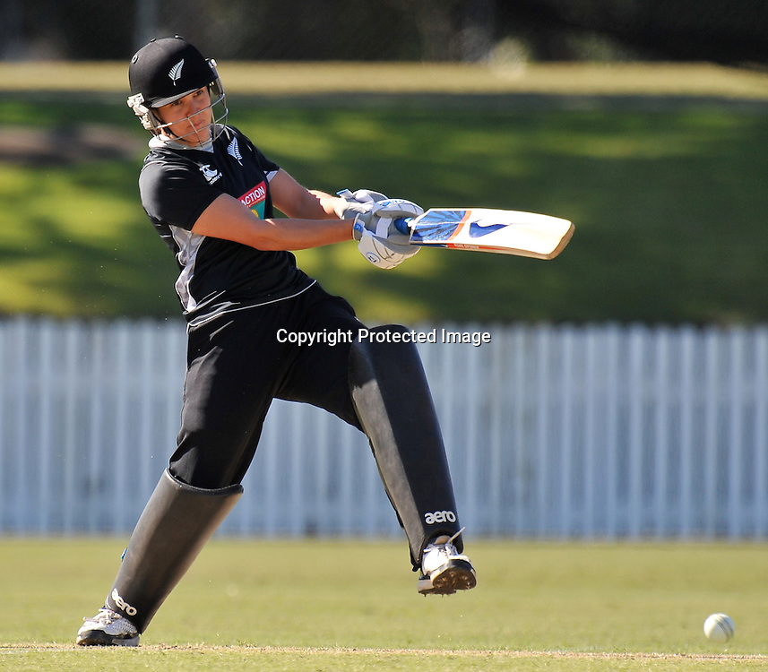Sara McGlashan plays firmly into the off side for the White Ferns during action in Game 6 (ODI) of the Rose Bowl Trophy Cricket played between Australia and New Zealand at Alan Border Field in Brisbane (Australia) ~ Monday 14May 2011 ~ Photo : Steven Hight (AURA Images) / Photosport