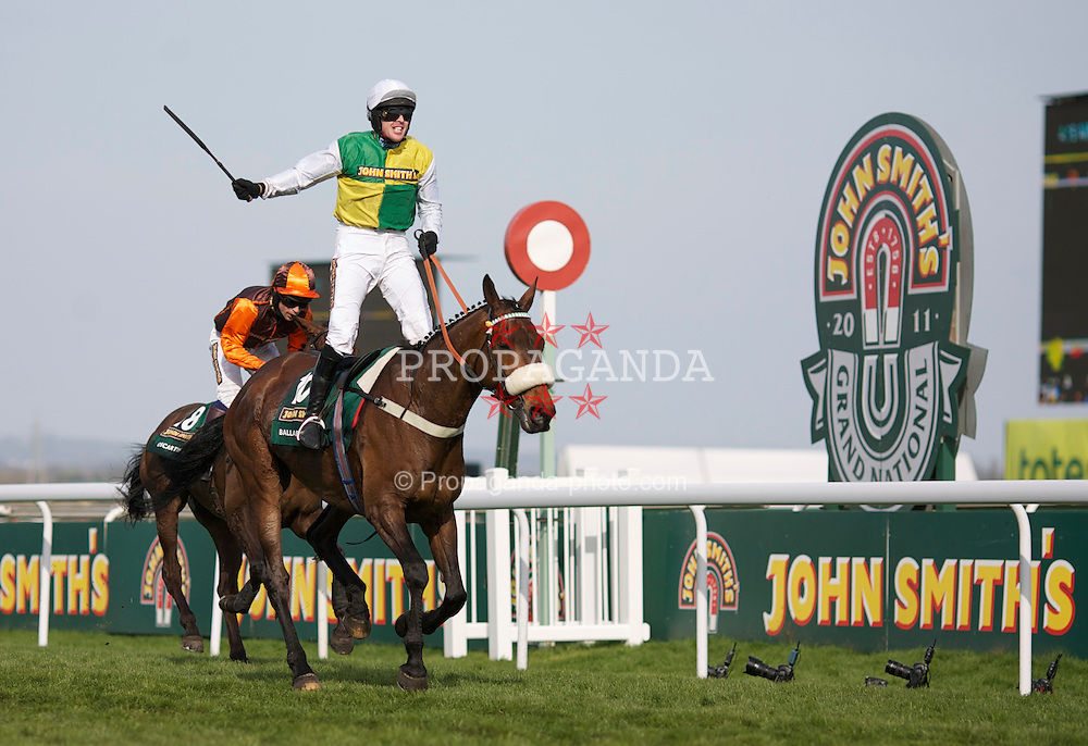 LIVERPOOL, ENGLAND, Saturday, April 9, 2011: Jason Maguire riding Ballabriggs celebrates as he cross the line to win the 2011 Grand National during Day Three of the Aintree Grand National Festival at Aintree Racecourse. (Photo by David Tickle/Propaganda)