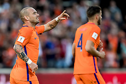 09.06.2017, De Kuip Stadium, Rotterdam, NED, FIFA WM 2018 Qualifikation, Niederlande vs Luxemburg, Gruppe A, im Bild Wesley Sneijder of Netherlands has scored 2-0 // Wesley Sneijder of Netherlands has scored 2-0 during the FIFA World Cup 2018, group A qualifying match between Netherlands and Luxemburg at the De Kuip Stadium in Rotterdam, Netherlands on 2017/06/09. EXPA Pictures © 2017, PhotoCredit: EXPA/ Focus Images/ Joep Joseph Leenen<br /> <br /> *****ATTENTION - for AUT, GER, FRA, ITA, SUI, POL, CRO, SLO only*****
