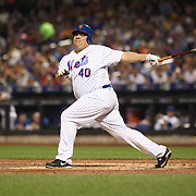 NEW YORK, NEW YORK - June 16: Pitcher Bartolo Colon #40 of the New York Mets strikes out on a pitch from A.J. Schugel #31 of the Pittsburgh Pirates during the Pittsburgh Pirates Vs New York Mets regular season MLB game at Citi Field on June 16, 2016 in New York City. (Photo by Tim Clayton/Corbis via Getty Images)