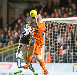 Dundee United's Thomas Mikkelsen scoring their third goal. Dundee United 3 v 0 Raith Rovers, Scottish Championship game played 4/2/2017 at Dundee United's stadium Tannadice Park.