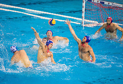 Nikola Dedovic of Primorje vs Alexandros Gounas of Olympiacos and Ioannis Fountoulis of Olympiacos during water polo match between Primorje Erste Bank (CRO) and Olympiacos Piraeus (GRE) in 8th Round of Champions League 2016, on April 16, 2016 in Kantrida pool, Rijeka, Croatia. Photo by Vid Ponikvar / Sportida