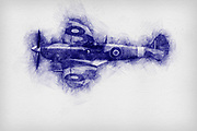 Digitally enhanced pen sketch image of a Royal Air Force Supermarine spitfire in flight
