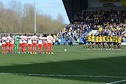 Minutes silence in memory of the Belgian terror attacks during the Sky Bet League 2 match between Oxford United and Stevenage at the Kassam Stadium, Oxford, England on 25 March 2016. Photo by Alan Franklin.
