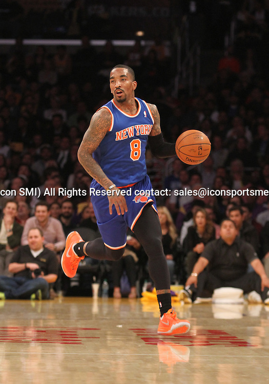 Tuesday March 25, 2014; J.R. Smith #8 of the Knicks during the game. The Los Angeles Lakers defeated the New York Knicks by the final score of 127-96 at Staples Center in downtow Los Angeles CA.
