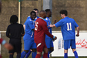 Greenwich Borough's Cisro Embela  celebrates (6-0) during the Southern Counties East match between AFC Croydon Athletic and Greenwich Borough at the Mayfield Stadium, Croydon, United Kingdom on 12 March 2016. Photo by Martin Cole.