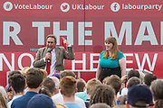 David Drew and Angela Rayner, Shadow Secretary of State for Education at a rally in the  Stroud district supporting Labour candidate David Drew during the Labour Party Election Campaign at the New Lawn, Forest Green, United Kingdom on 31 May 2017. Photo by Shane Healey.