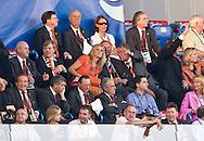 21-06-2008: Voetbal: Nederland-Rusland: Basel <br /> Prins Willem-Alexander en Maxima op de tribune in Basel voorafgaand aan de wedstrijd tegen Rusland<br /> Foto: Geert van Erven