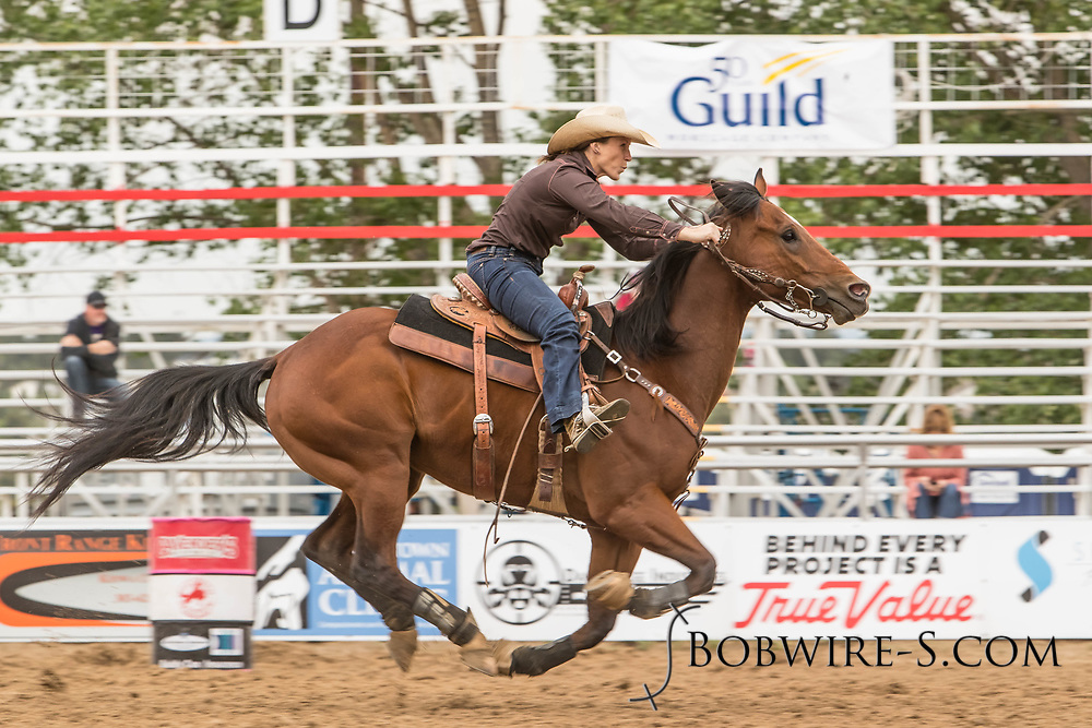 Rachel Tiedeman makes her barrel racing run during slack at the Elizabeth Stampede on Sunday, June 3, 2018.