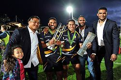 Ofa Fainga'anuku, Cooper Vuna, Ravai Fatiaki, Josh Drauniniu and Christian Scotland-Williamson with the Greene King IPA Championship trophy and the British and Irish Cup - Photo mandatory by-line: Patrick Khachfe/JMP - Mobile: 07966 386802 27/05/2015 - SPORT - RUGBY UNION - Worcester - Sixways Stadium - Worcester Warriors v Bristol Rugby - Greene King IPA Championship Play-off Final (Second leg)