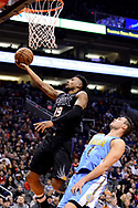 Jan 28, 2017; Phoenix, AZ, USA; Phoenix Suns guard Leandro Barbosa (19) drives the ball in front of Denver Nuggets forward Danilo Gallinari (8) in the second half of the NBA game at Talking Stick Resort Arena. The Nuggets won 123-112. Mandatory Credit: Jennifer Stewart-USA TODAY Sports