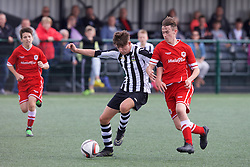 NEWPORT, WALES - Thursday, August 4, 2016: South Wales Academy Boys'  Scott Howell [L] and North Wales Academy Boys'  Morgan Sadler [R] during the Welsh Football Trust Cymru Cup 2016 at Newport Stadium. (Pic by Paul Greenwood/Propaganda)