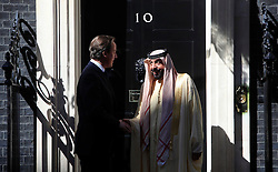 © Licensed to London News Pictures 01/05/2013.David Cameron greets UAE President Khalifa bin Zayed Al Nahyan at Downing Street..London, UK.Photo: Anna Branthwaite/LNP