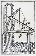 Wooden sextant with screw adjustment. From Tycho Brahe  'Astronomiae instaurate mechanica', 1602.