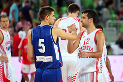 Milenko Tepic of Serbia and Krunoslav Simon of Croatia at friendly match between Serbia and Croatia for Adecco Cup 2011 as part of exhibition games before European Championship Lithuania on August 9, 2011, in SRC Stozice, Ljubljana, Slovenia. (Photo by Urban Urbanc / Sportida)