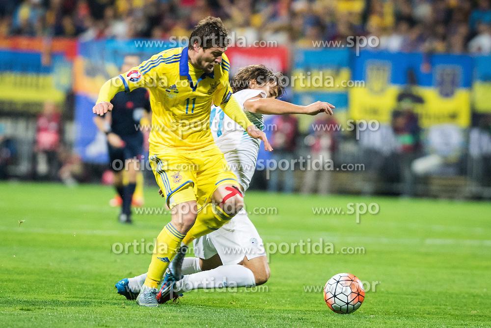 Yevhen Selezyov (UKR) vs Nejc Pecnik (SLO) during the UEFA EURO 2016 Play-off for Final Tournament, Second leg between Slovenia and Ukraine, on November 17, 2015 in Stadium Ljudski vrt, Maribor, Slovenia. Photo by Ziga Zupan / Sportida