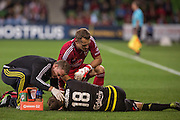 28 Mar 2016: Glen Moss of the Wellington Phoenix and the team medic comes to the side  of Benjamin Sigmund of the Wellington Phoenix after a incident with Harry Novillo of Melbourne City during the 25th round of the 2015-16 Hyundai A-League Season between Melbourne City and Wellington Phoenix held at AAMI Park, VIC, Australia. (Photo by Jason Heidrich/Icon Sportswire)