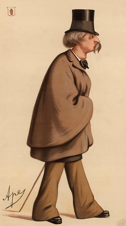 William Augustus Fraser of Morar, 4th Baronet (1826-1898), British politician, author and collector of Scottish extraction. Between 1857 and 1880 be was Member of Parliament for Barnstaple (1857-1859), Ludlow (1863-1865),  and Kidderminster (1874-1880).  Campaigner for metropolitan sanitary reform. Cartoon by 'Ape' (Carlo Pellegrini - 1838-1889)  from 'Vanity Fair' (London, 9 January 1875).  Chromolithograph.