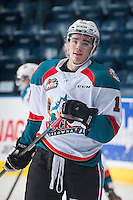 KELOWNA, CANADA - DECEMBER 30: Rodney Southam #17 of Kelowna Rockets skates during warm up against the Prince George Cougars on December 30, 2014 at Prospera Place in Kelowna, British Columbia, Canada.  (Photo by Marissa Baecker/Shoot the Breeze)  *** Local Caption *** Rodney Southam