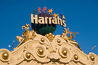 View of Harrahs casino on Las Vegas Boulevard, Las Vegas, Nevada. The street is also known as The Las Vegas Strip where many of the famous themed casinos and hotels are located.