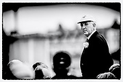 "Henley on Thames,  GREAT BRITAIN, 4 July 2008, Henley Umpire and Steward, Fred SMALLBONE, ""standing in the bow of ""ULYSSES"", after an evening race,  2008 Henley Royal Regatta, on  Friday, Henley on Thames. ENGLAND.,  ""Film Noir Style Photography"", © Peter SPURRIER,"