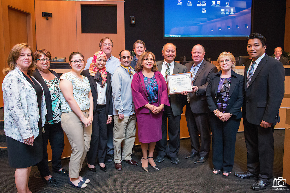 The Milpitas Post receives an award by the City of Milpitas at City Hall in Milpitas, California, on April 21, 2015. (Stan Olszewski/SOSKIphoto)