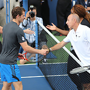 Reigning US Open Tennis Champions Andy Murray and Serena Williams during a 'doubles' match with TODAY co hosts Matt Lauer and Savannah Guthrie. Flushing. New York, USA. 22nd August 2013. Photo Tim Clayton