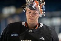 KELOWNA, BC - SEPTEMBER 22:  Mikko Koskinen #19 of the Edmonton Oilers skates to the net for practice at Prospera Place on September 22, 2019 in Kelowna, Canada. (Photo by Marissa Baecker/Shoot the Breeze)