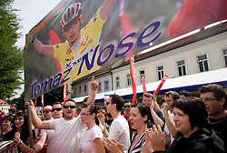 Fans of Second placed in general classification Tomaz Nose of Slovenia (Adria Mobil) at the flower ceremony in Novo mesto after 4th stage of Tour de Slovenie 2009 from Sentjernej to Novo mesto, 153 km, on June 21 2009, Slovenia. (Photo by Vid Ponikvar / Sportida)