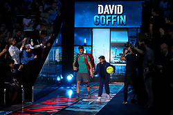 David Goffin walks out to start his singles match during day four of the NITTO ATP World Tour Finals at the O2 Arena, London.