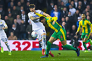 Liam Cooper of Leeds United (6) is palmed off by Hal Robson-Kanu of West Bromwich Albion (4) during the EFL Sky Bet Championship match between Leeds United and West Bromwich Albion at Elland Road, Leeds, England on 1 March 2019.