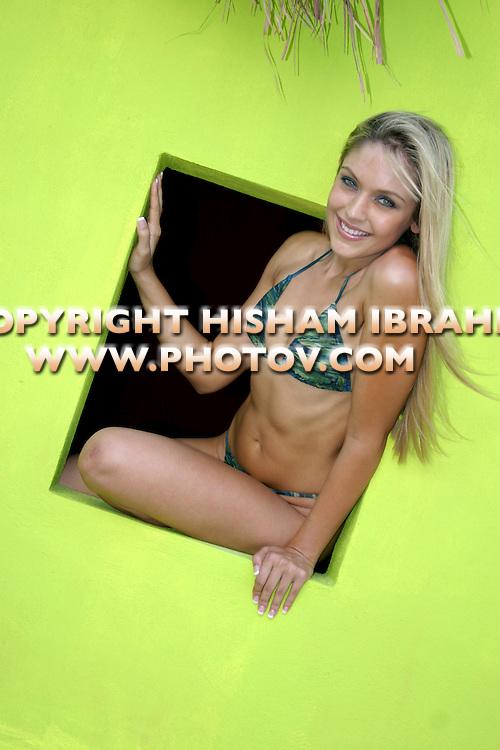 Sexy Blonde woman in bikini, Cancun, Mexico