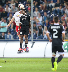 06.08.2014, Red Bull Arena, Salzburg, AUT, UEFA CL Qualifikation, FC Red Bull Salzburg vs Qarabag FK, dritte Runde, Rueckspiel, im Bild Martin Hinteregger, (FC Red Bull Salzburg, #36) und Leroy George, (Qarabag FK, #41) //during UEFA Champions League Qualifier second leg 3rd round match between FC Red Bull Salzburg vs Qarabag FK at the Red Bull Arena in Salzburg, Austria on 2014/08/06. EXPA Pictures © 2014, PhotoCredit: EXPA/ Roland Hackl