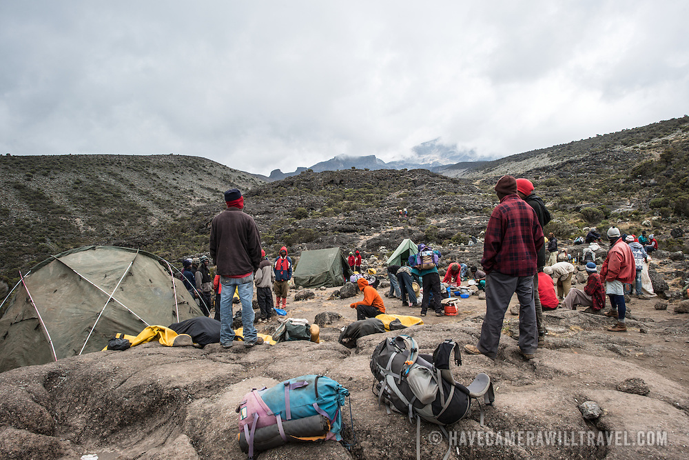 A campsite set up at Moir Hut Camp on Mt Kilimanjaro's Lemosho Route.