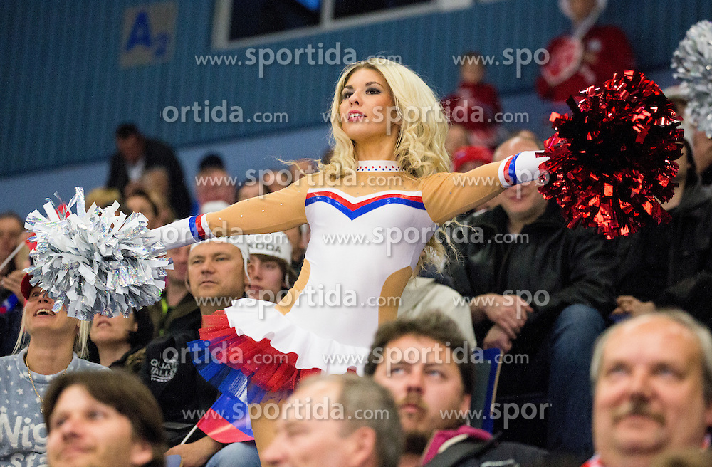 Cheerleaders perform during Ice Hockey match between Russia and Norway at Day 1 in Group B of 2015 IIHF World Championship, on May 1, 2015 in CEZ Arena, Ostrava, Czech Republic. Photo by Vid Ponikvar / Sportida