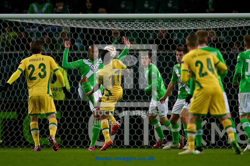 Nani of Sporting Clube de Portugal (number 77) shoots at goal during the UEFA Europa League match at Volkswagen Arena, Wolfsburg<br /> Picture by Ian Wadkins/Focus Images Ltd +44 7877 568959<br /> 19/02/2015