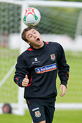 WREXHAM, WALES - Monday, August 18, 2008: Wales' Chris Gunter training at Colliers Park ahead of their UEFA European U21 Championship Group 10 Qualifying match against Romania. (Photo by David Rawcliffe/Propaganda)