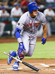 June 14, 2018 - Phoenix, AZ, U.S. - PHOENIX, AZ - JUNE 14: New York Mets center fielder Brandon Nimmo (9) hits a homer during the MLB baseball game between the Arizona Diamondbacks and the New York Mets on June 14, 2018 at Chase Field in Phoenix, AZ (Photo by Adam Bow/Icon Sportswire) (Credit Image: © Adam Bow/Icon SMI via ZUMA Press)