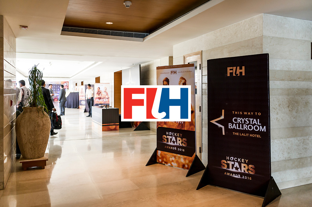 CHANDIGARH, INDIA - FEBRUARY 23: Setup showing branding and print collaterals during the FIH Hockey Stars Awards 2016 at Lalit Hotel on February 23, 2017 in Chandigarh, India. (Photo by Ali Bharmal/Getty Images for FIH)