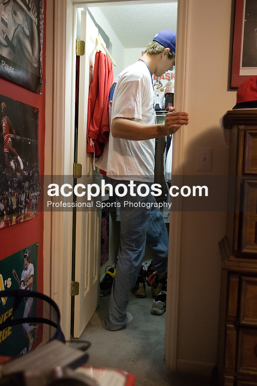 28 April 2007: North Carolina State pitcher Andrew Brackman (40) at his apartment before starting as pitcher against the North Carolina Tar Heels in Raleigh, NC.
