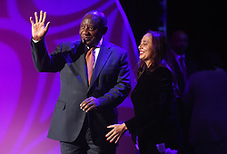 Cape Town-181007-President Cyril Ramaphosa greets the audience as he arrives at the artscaper to deliver the e Desmond Tutu Annual Peace Lecture .The president comes to this address under lot of pressure from the public and political parties who want him to fire Minister of Finance Nhlanhla Nene because of his engagement with the Gupta family.The President is welcomed by Marlene le roux of the Artscape .Photographer:Phando Jikelo/African News Agency(ANA)