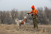 Bob Ciulla gives his English Setter, Jasper, a drink of water during a pheasant hunt in Montana