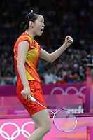 Li Xuerui, China, Celebrates Victory over Tai Tzu Ying, Womens Snigles, Olympic Badminton London Wembley 2012