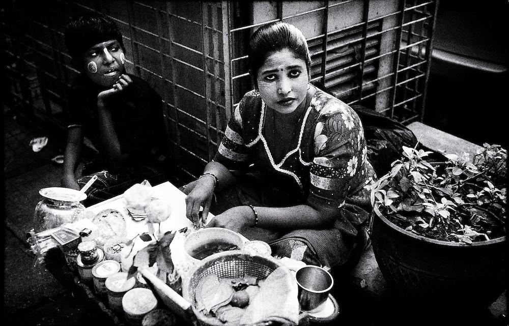 Street vendors, Yangon (Rangoon) Myanmar (Burma) January 2012