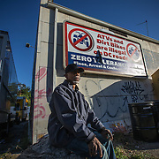 WASHINGTON, DC-OCT14: Leon Savoy, waits for Capital Self-Storage to open, October 16,  2015, so he can get in his unit and change his clothes before heading to his job as a furniture restorer. Savoy is currently homeless and living at a nearby shelter. Many of the area homeless have possessions they want to keep safe, just nowhere permanent to live, so they store their belongings at Capital Self-Storage, where an upper-level unit costs $30/month. Some of the homeless patrons also spend their days in their storage units, when shelters are closed during midday hours. The storage facility near 3rd and Florida Avenue in Northeast, Washington, DC, is about to be replaced by a boutique hotel. (Photo by Evelyn Hockstein/For The Washington Post)