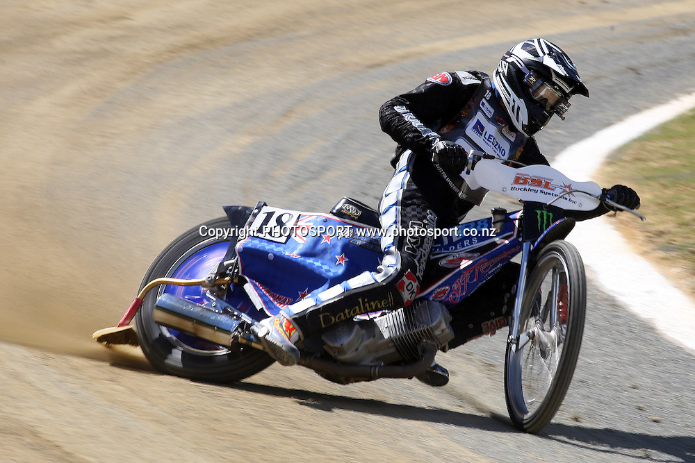 Sean Mason (NZL) in action during practice session of the 2012 FIM New Zealand Speedway Grand Prix, Western Springs, Auckland, New Zealand. Thursday 29th March 2012. Photo: Wayne Drought / photosport.co.nz