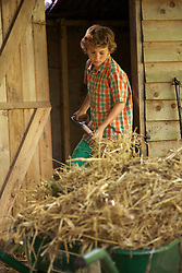 Boy Shoveling Hay into Wheelbarrow