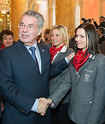 29.01.2014, Hofburg, Wien, AUT, Sochi 2014, Vereidigung OeOC, im Bild Bundespräsident Heinz Fischer, Michaela Kirchgasser, Anna Fenninger // Austrians President Heinz Fischer, Michaela Kirchgasser, Anna Fenninger during the swearing-in of the Austrian National Olympic Committee for Sochi 2014 at the  Hofburg in Vienna, Austria on 2014/01/29. EXPA Pictures © 2014, PhotoCredit: EXPA/ JFK