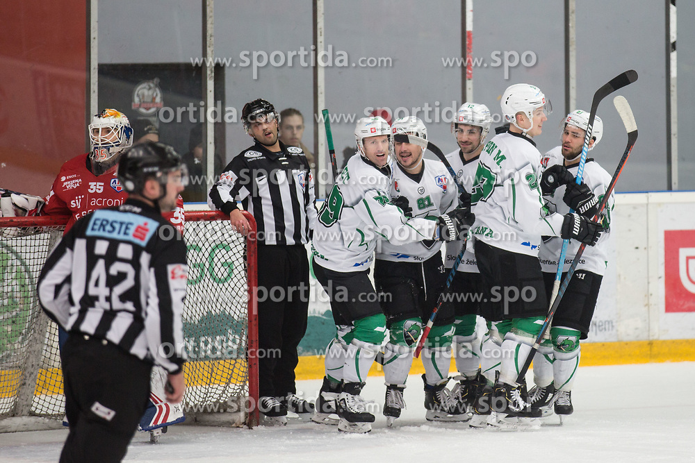 HK SZ Olimpija celebrating during Alps League Ice Hockey match between HDD SIJ Jesenice and HK SZ Olimpija on December 20, 2019 in Ice Arena Podmezakla, Jesenice, Slovenia. Photo by Peter Podobnik / Sportida